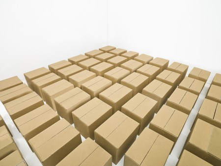 cardboard boxes: Arranged cardboard boxes on white background