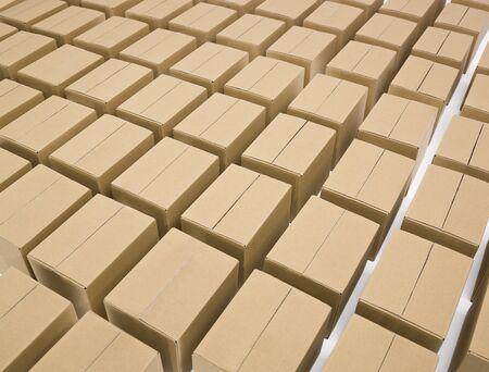 cajas de carton: Organizan cajas de cart�n sobre fondo blanco