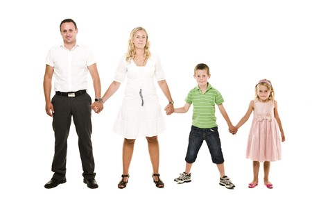 boy and girl holding hands: Family isolated on white background
