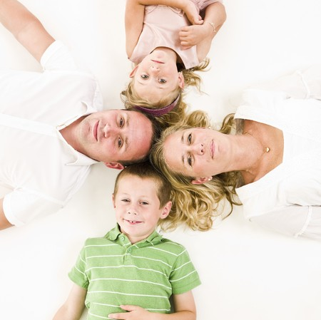 Family from above isolated on white background photo
