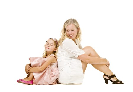 Mother and daughter isolated on white background Stock Photo - 7587446