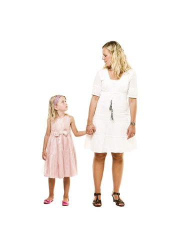Mother and daughter holding hands isolated on white background