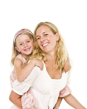 Portrait of happy moter and daughter isolated on white background Stock Photo