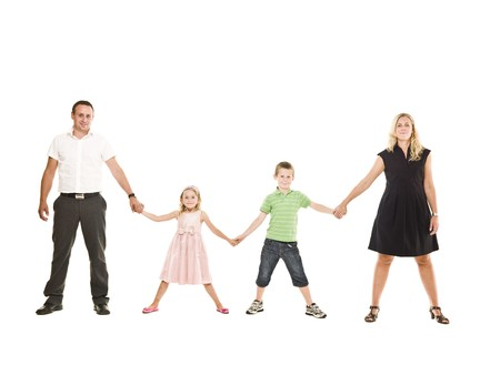 Family isolated on white background photo