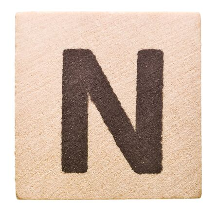 letter n: Block with Letter N isolated on white background