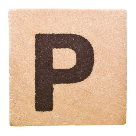 letter p: Block with Letter P isolated on white background