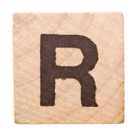 letter r: Block with Letter R isolated on white background Stock Photo