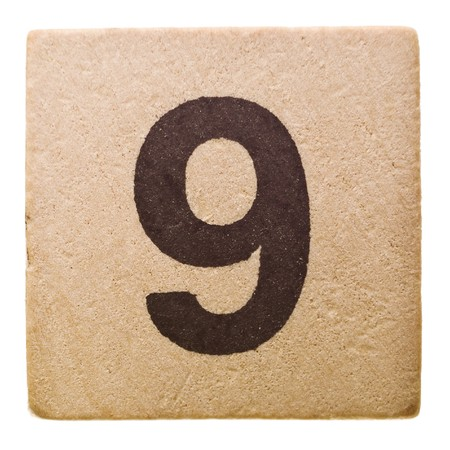 number nine: Bloquear con Number Nine aislados sobre fondo blanco