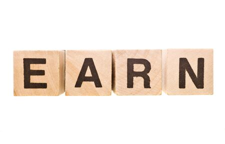 The word earn wrote of Building blocks photo