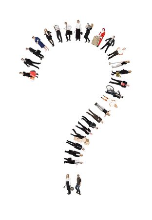 Question Mark Formed by Humans isolated on white Background Stock Photo