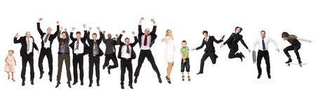 Group of Jumping People isolated on white Background photo