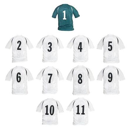 numero diez: Camisetas de f�tbol se form� como un equipo aislado sobre fondo blanco