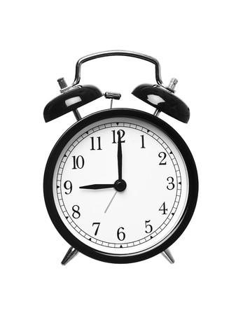 o�??clock: Reloj despertador muestra las nueve aislados en fondo blanco Foto de archivo