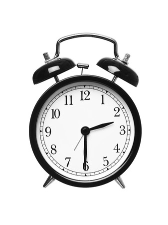 Alarm clock shows half past two isolated on white background photo