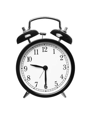 despertador: Reloj despertador muestra el semestre pasado nueve aislados en fondo blanco