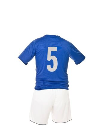 soccer uniforms: Football shirt with number 5 isolated on white background