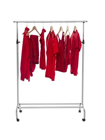clothing rack: Red clothes on a Rack isolated on white background