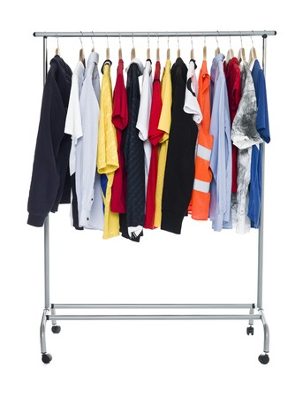 Clothes on a Rack isolated on white Background photo