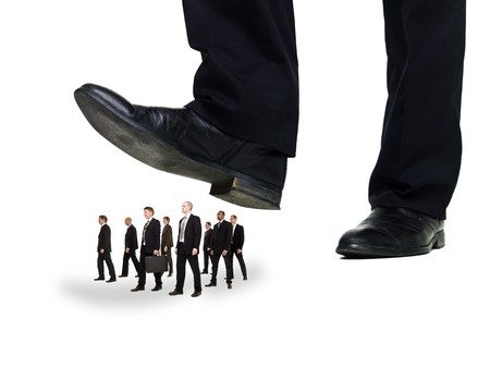 giant man: Group of Businessmen under a sole isolated on white background Stock Photo