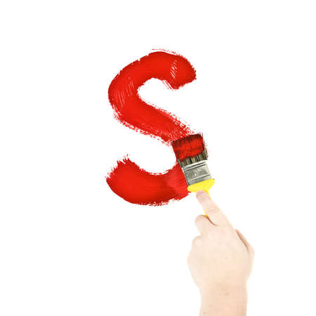 Painting Letter S on white background photo
