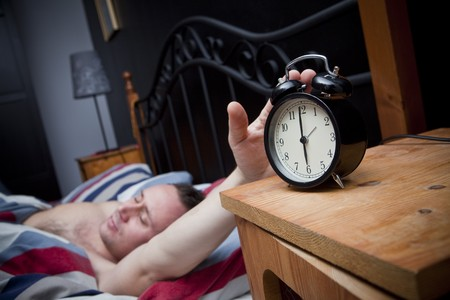 Man waking up in the morning photo