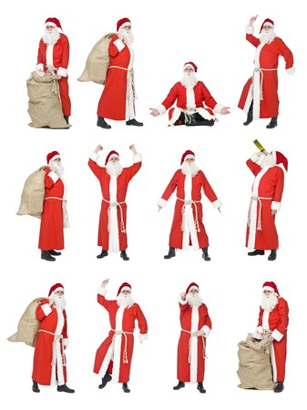 Collage of isolated Santa Claus in different situations photo