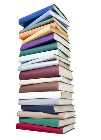stack of papers: Pile of Books isolated on white background Stock Photo
