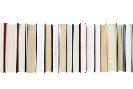 bookish: Books in a row isolated on white background