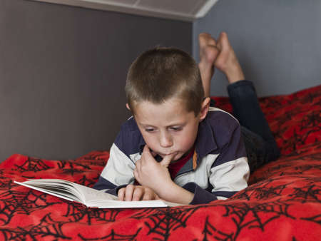Young Boy in the bed reading a book photo