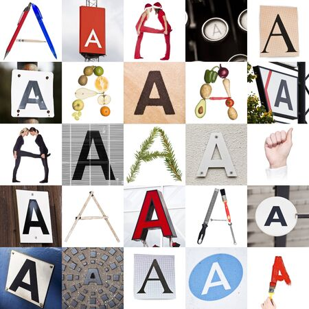 Collage with 25 images with letter A photo