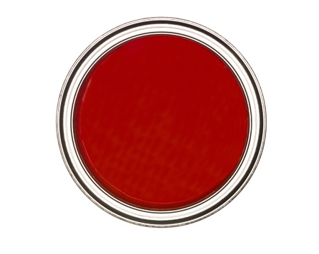 paintcan: Red Paintcan from above isolated on white background Stock Photo