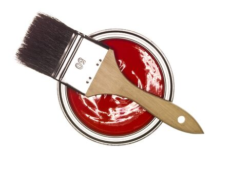paintcan: Red Paintcan and brush from above isolated on white background