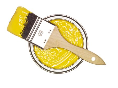 Yellow Paint can with brush from above isolated on white background Stock Photo - 8604808