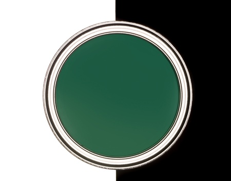 Green Paint can on black and white background photo