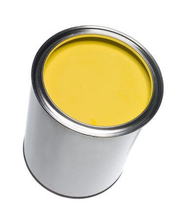 Yellow Paint can isolated on white background photo