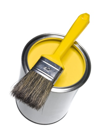 brush in: Yellow Paint can and brush isolated on white background