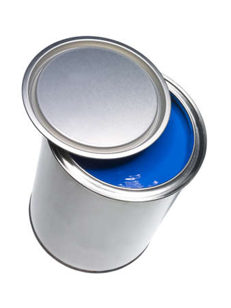 Blue Paint can isolated on white background photo