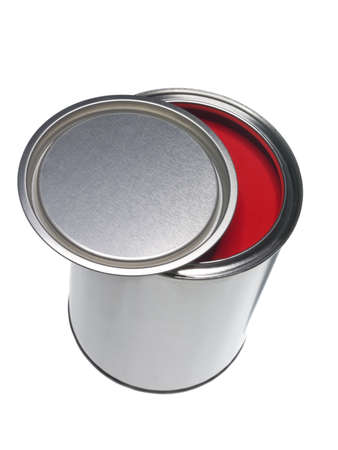 Red Paint can isolated on white background photo