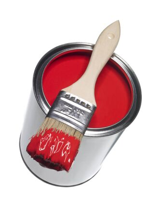 brush paint: Red Paint can and brush isolated on white background