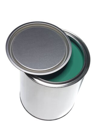 Green Paint can isolated on white background photo