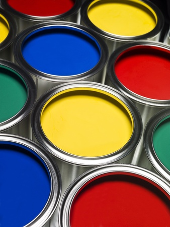 intensity: Multi colored Paint cans full frame Stock Photo