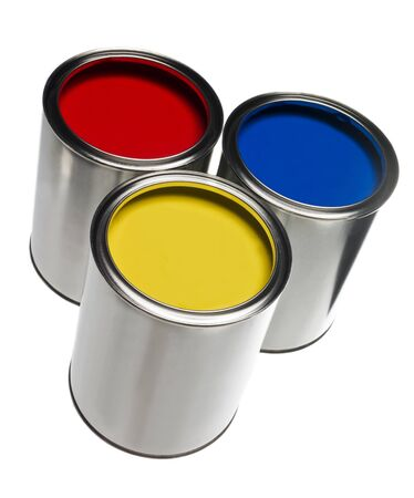 paint can: Three Paint cans isolated on white background Stock Photo