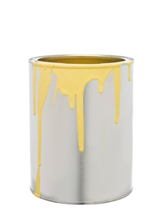 paint can: Paint Can with Yellow spill isolated on white background
