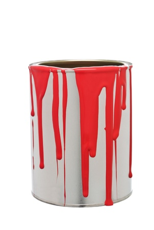 paint can: Paint Can with Red spill isolated on white background Stock Photo