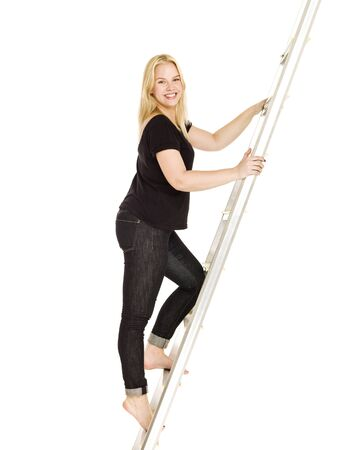 Woman climbing up the ladder isolated on white background Stock Photo - 8732074