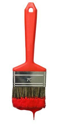 brush: Rojo Paintbrush aislado en un fondo blanco