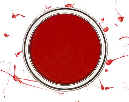 paintcan: Red Paintcan from above isolated on a spotted background
