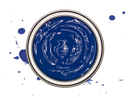 paintcan: Blue Paintcan from above isolated on a spotted background Stock Photo