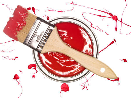paintcan: Red Paintcan and brush from above isolated on a spotted background Stock Photo