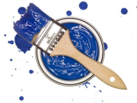 paintcan: Blue Paintcan and brush from above isolated on a spotted background Stock Photo